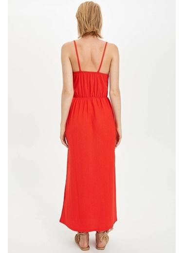 DeFacto Düğme Detaylı Elbise Kırmızı